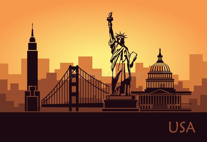 Abstract city skyline with sights of the USA at sunset royalty free illustration