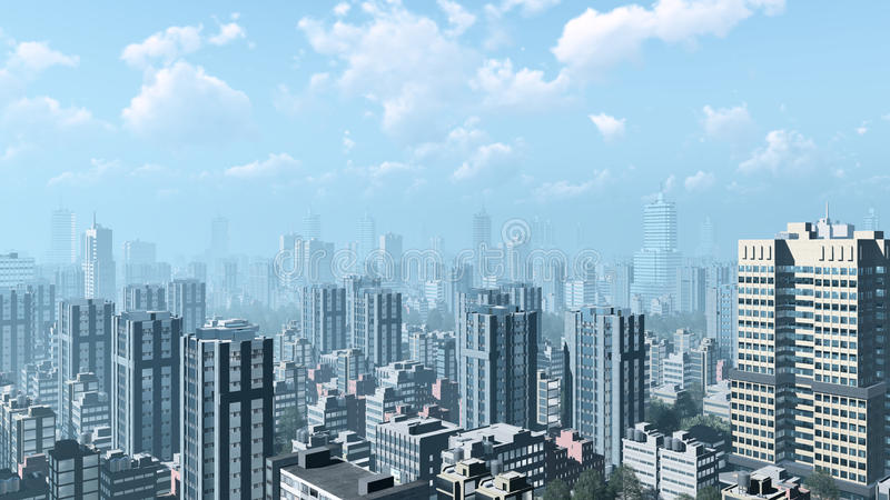 Abstract city skyscrapers against cloudy sky. Modern high rise buildings skyscrapers in the heart of abstract city downtown against cloudy sky with haze on royalty free illustration