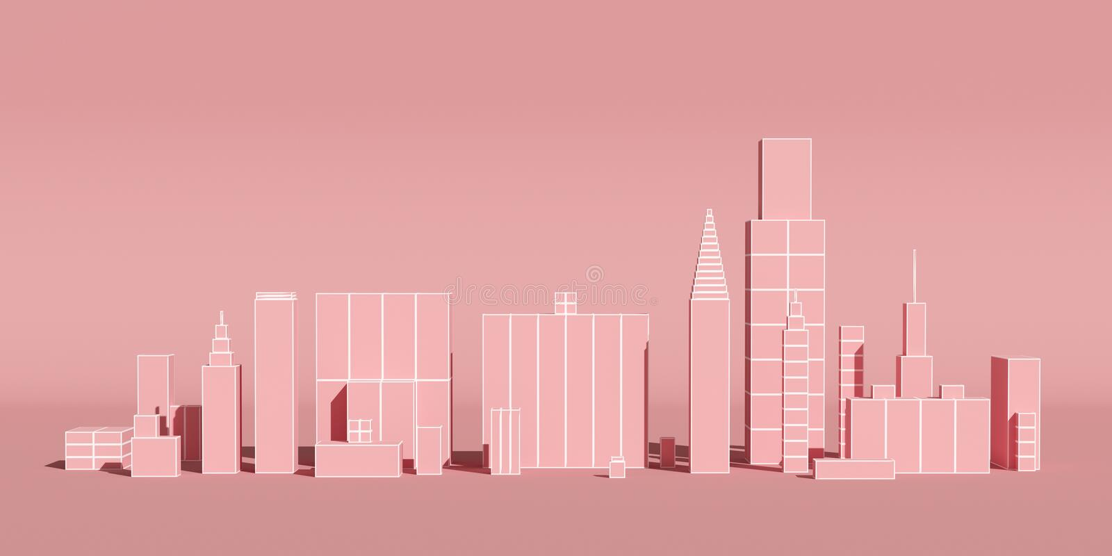 Abstract city with skyscrapers background, futuristic city panorama. 3d illustration. Pink royalty free illustration