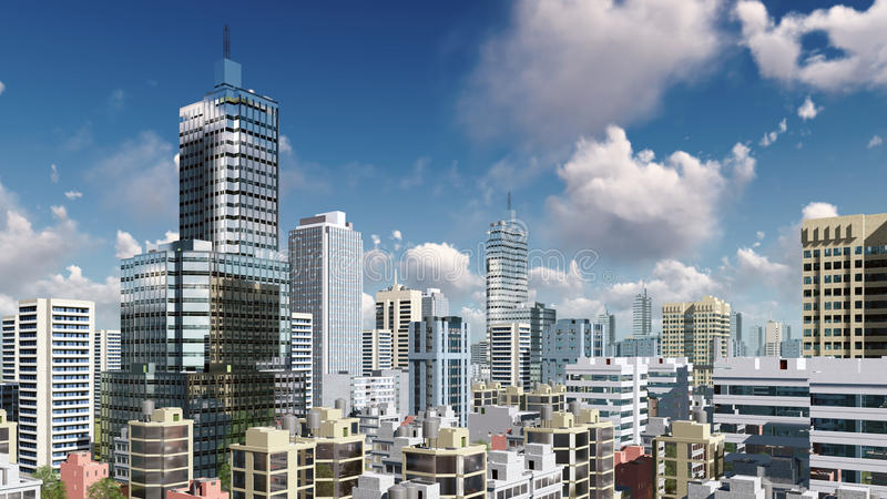 Abstract city skyscrapers and cloudy sky. Modern high rise buildings skyscrapers in the heart of abstract city downtown against daytime sky with clouds. 3D vector illustration