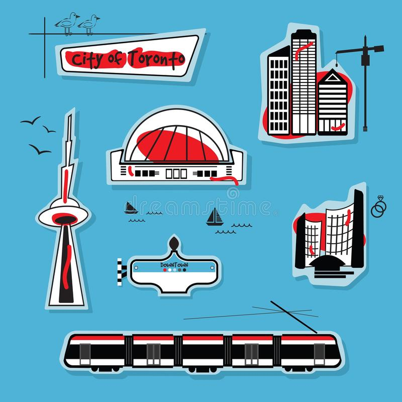Abstract City of Toronto on blue background. City of Toronto - Abstract modern icons set on blue background stock illustration