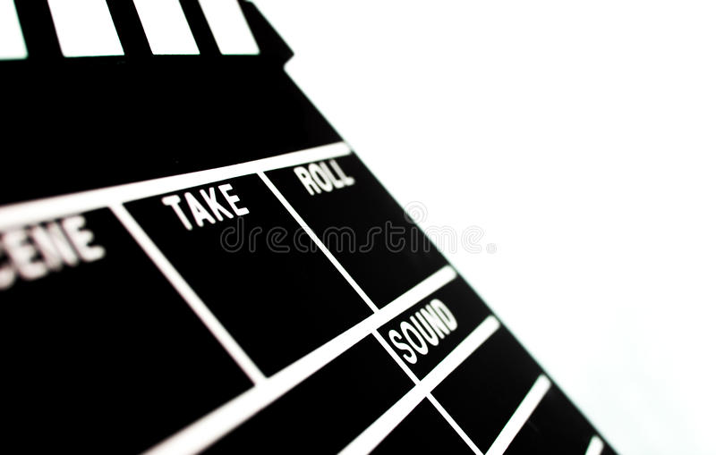 Abstract Clapperboard. Isolated on white background stock photo
