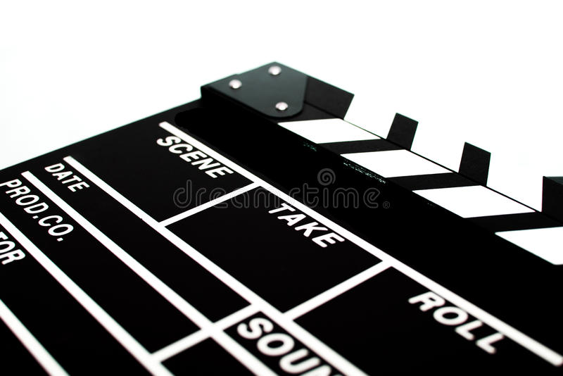 Abstract Clapperboard. Isolated on white background stock photos