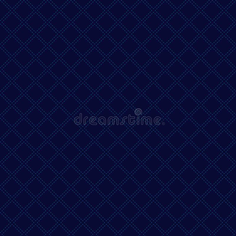Abstract classic geometric squares pattern on dark blue background luxury style. Dashed lines repeating with square texture royalty free illustration