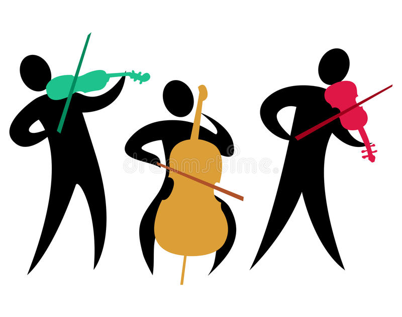Abstract Classical String Trio/eps. Colorful abstract illustration of a classical string trio with two violinists and a cellist stock illustration