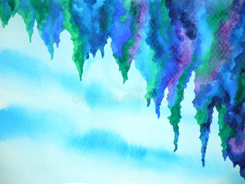 Abstract cliff cave sky watercolor painting illustration design pattern background royalty free stock photos