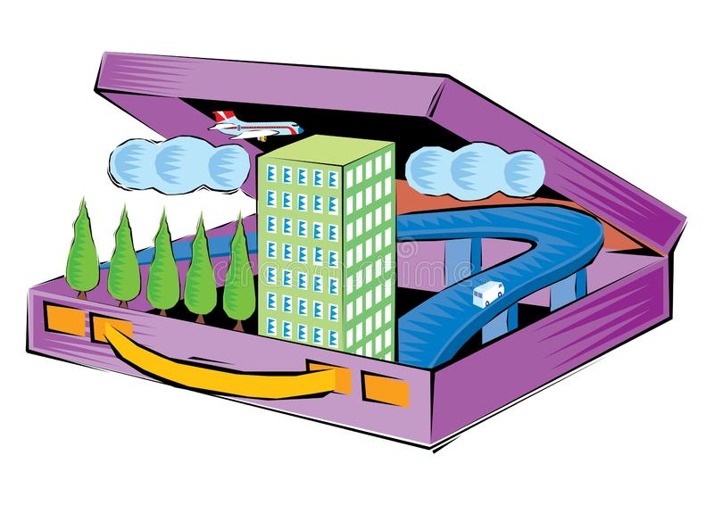 Abstract Clipart of a business travel - a bag contain tree and hotel and car and plane and clouds stock illustration