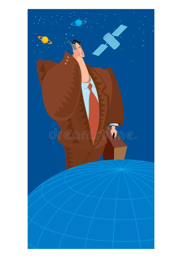 Abstract Clipart of Businessman on a cell phone stock illustration