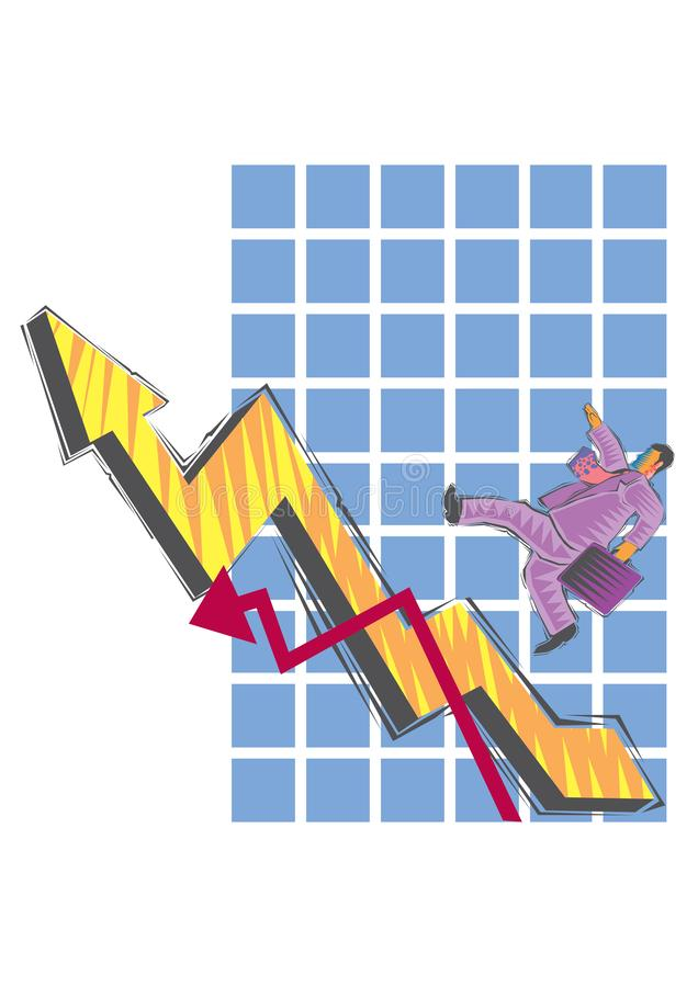 Abstract Clipart of Businessman climbs up the chart royalty free illustration