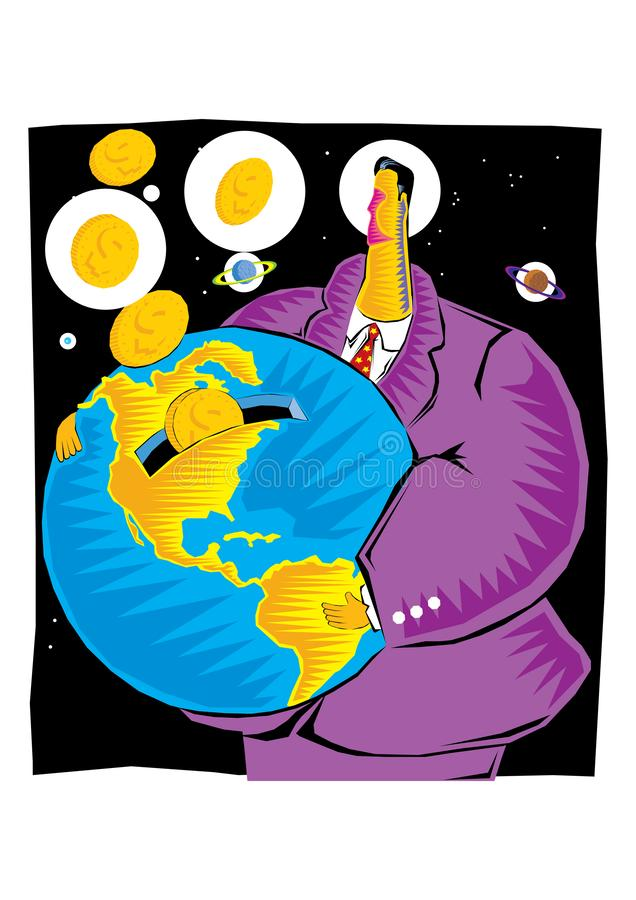 Abstract Clipart of  A businessman saves gold coins inside the globe as Earth bank royalty free illustration