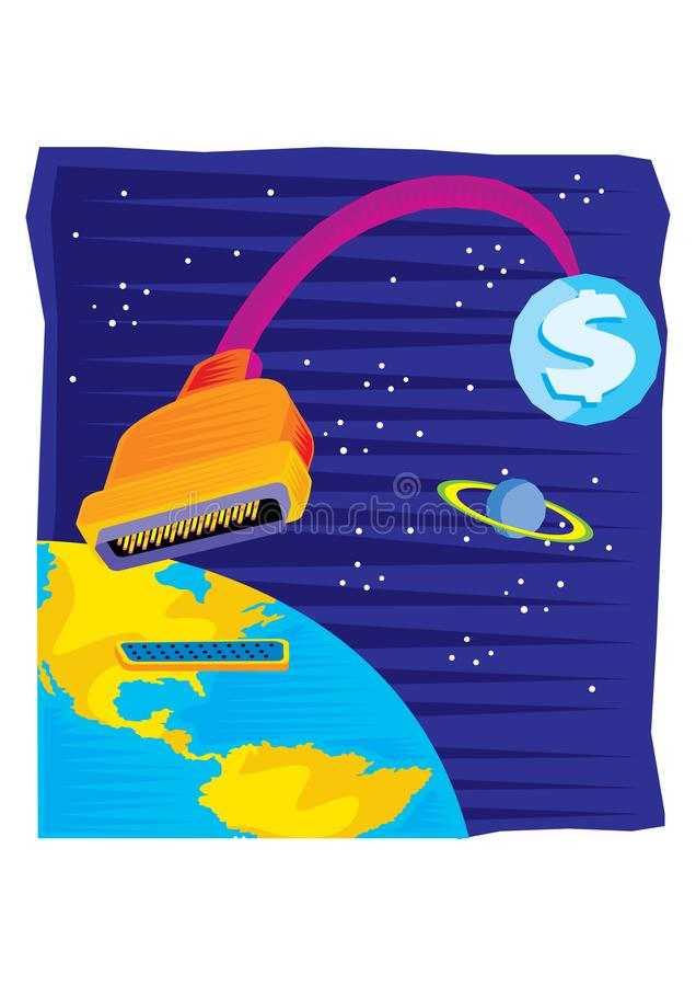Abstract Clipart of Earth powered money - a dollar sign in space stock illustration