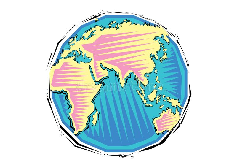 Abstract Clipart of Global earth planet map stock illustration