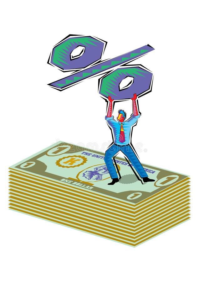 Abstract Clipart of Man holding a percent sign over dollars vector illustration
