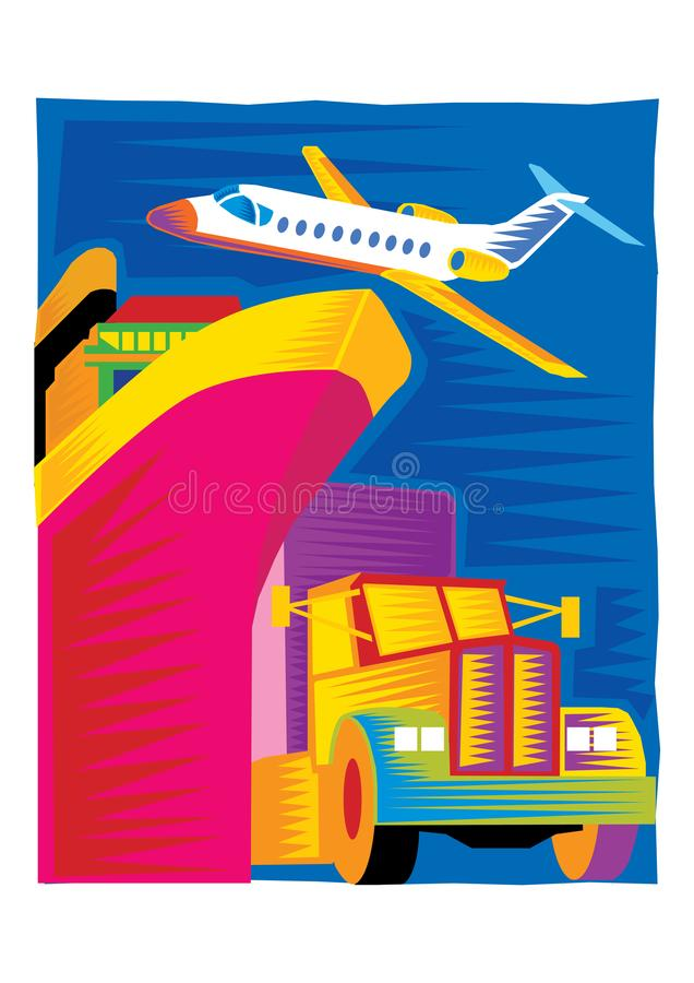 Abstract Clipart of transport by shipping , aircraft , car royalty free illustration