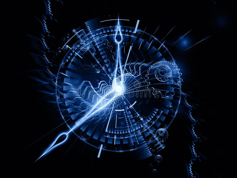 Abstract clock backdrop. Backdrop composed of clock hands, gears, lights and abstract design elements and suitable for use on time sensitive issues, deadlines stock illustration