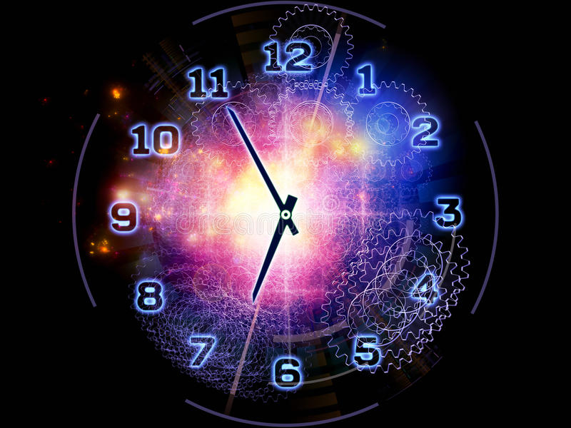 Abstract clock background. Artistic abstraction on the subject of time sensitive issues, deadlines, scheduling, temporal processes, past, present and future stock illustration