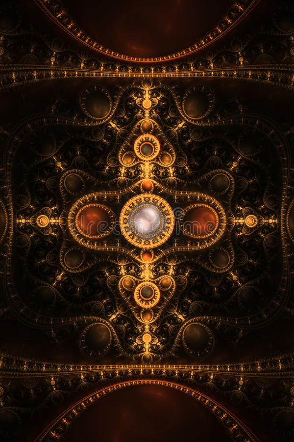 Abstract Clock Jewel Fractal Flame Background royalty free illustration