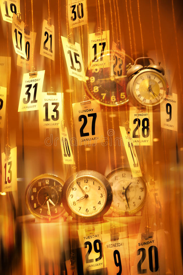 Abstract Calendar Clocks Time Background stock photo