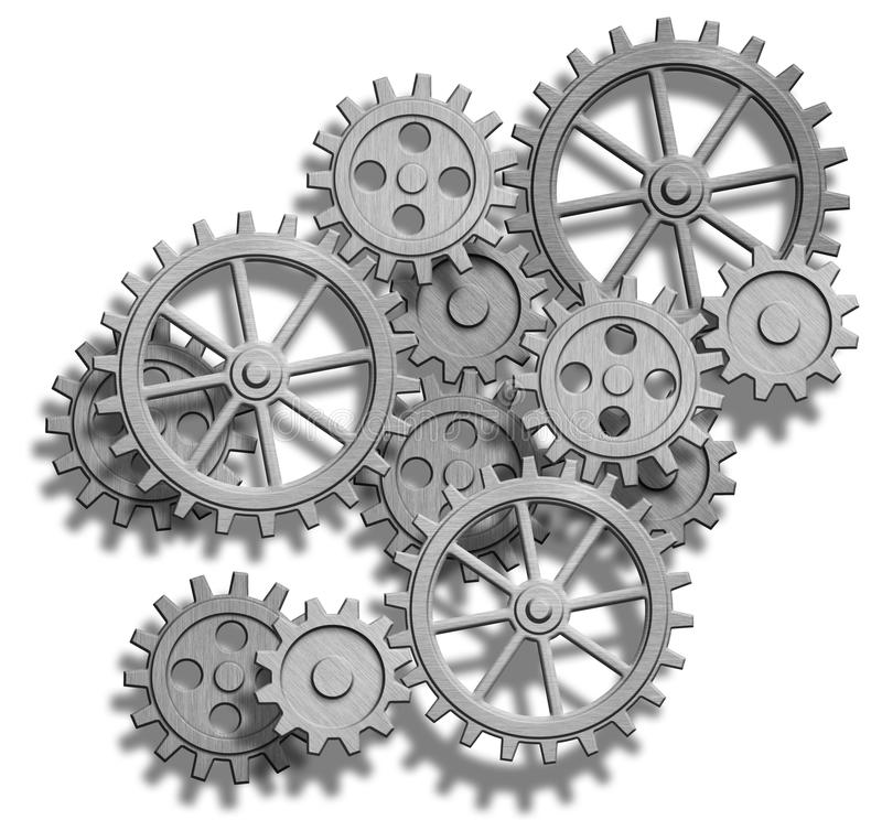 Abstract mechanical gears on white. Engineering co stock illustration
