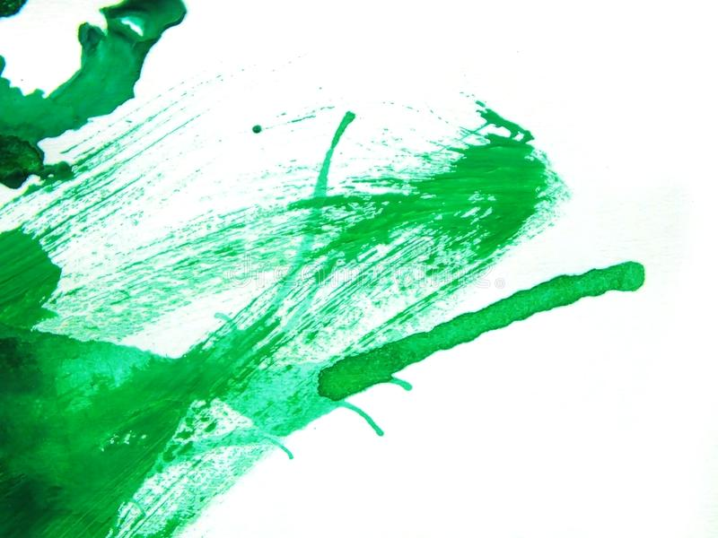 Abstract close up of green watercolor hand painting on paper white background. For work of you vector illustration