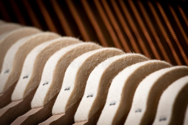 Abstract closeup of the interior of an upright piano stock images