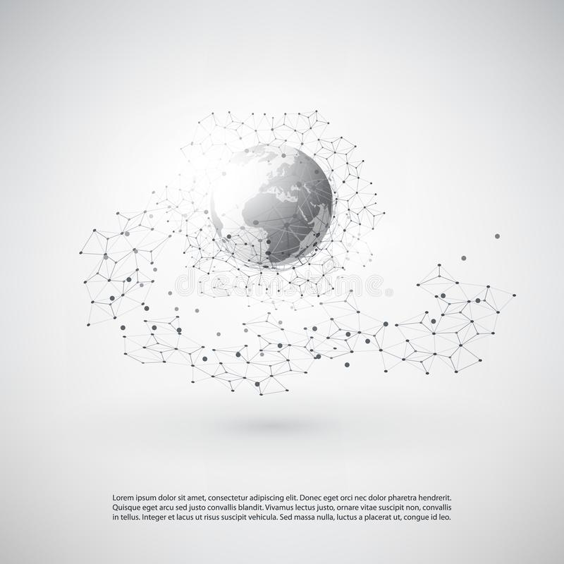 Cloud Computing and Networks Concept with Earth Globe - Global Digital Network Connections, Technology Background, Creative Design vector illustration