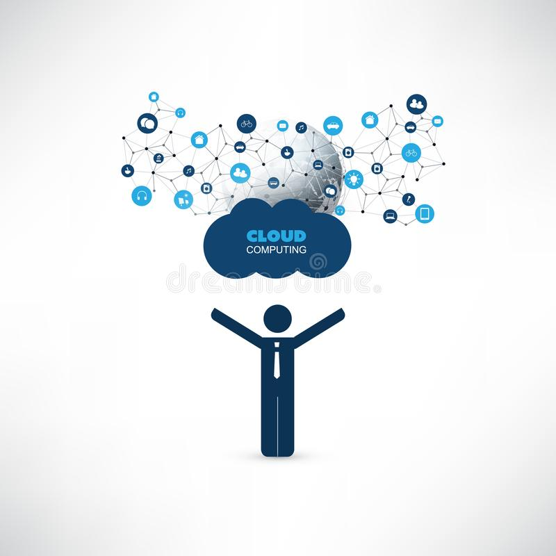 Cloud Computing Design Concept with a Standing Happy Business Man and Icons - Digital Network Connections, Technology Background. Abstract Cloud Computing vector illustration