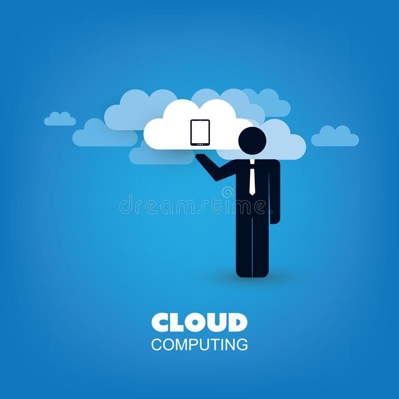 Cloud Computing Design Concept with Standing Business Man and Clouds - Digital Network Connections, Technology Background. Abstract Cloud Computing,Network vector illustration