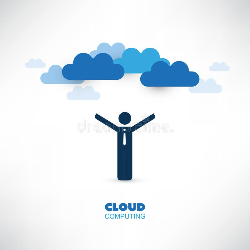 Cloud Computing Design Concept with a Standing Happy Business Man - Digital Network Connections, Technology Background. Abstract Cloud Computing,Network stock illustration
