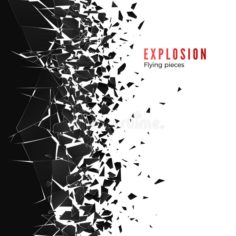 Abstract cloud of pieces and fragments after wall explosion. Shatter and destruction effect. Vector illustration.  royalty free illustration
