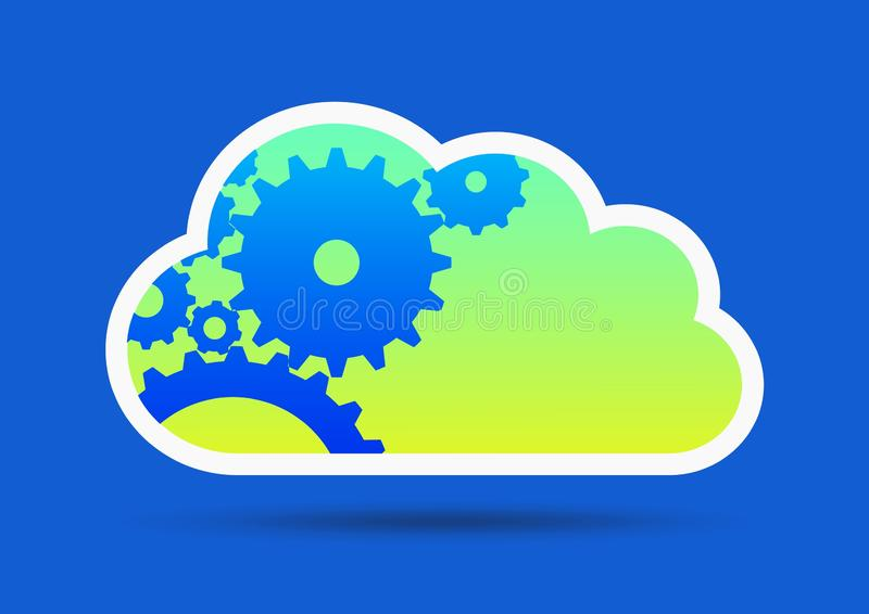Green cloud on blue royalty free illustration
