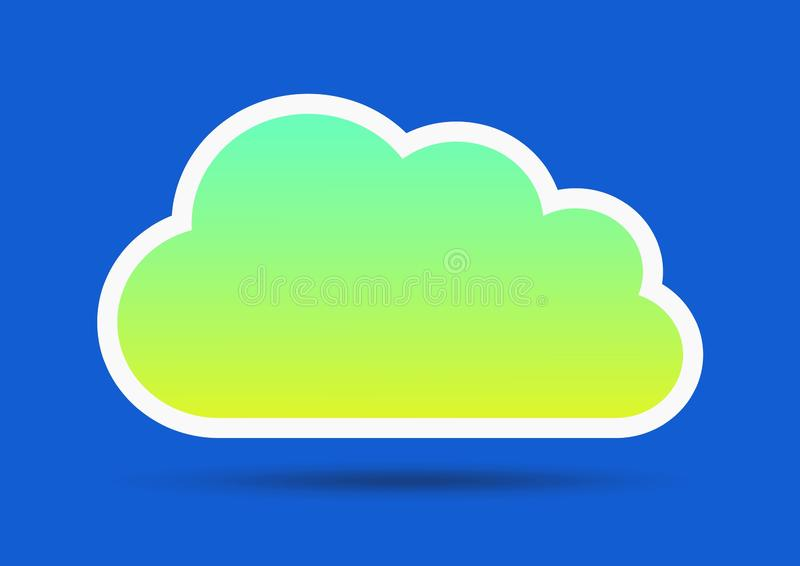 Green cloud on blue stock illustration