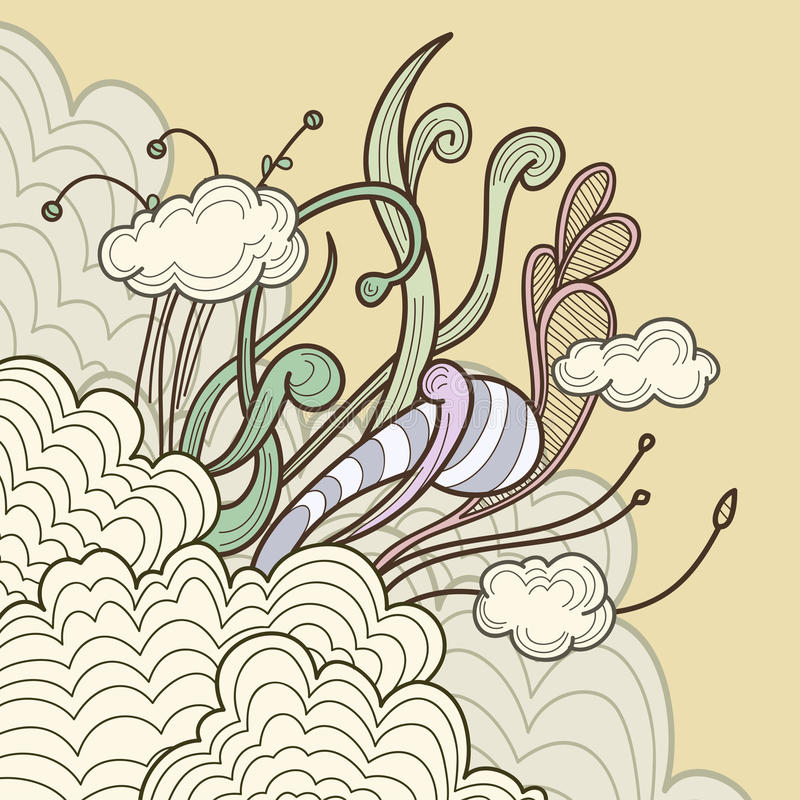 Download Abstract Clouds With Floral Design Elements Stock Vector - Image: 22401459