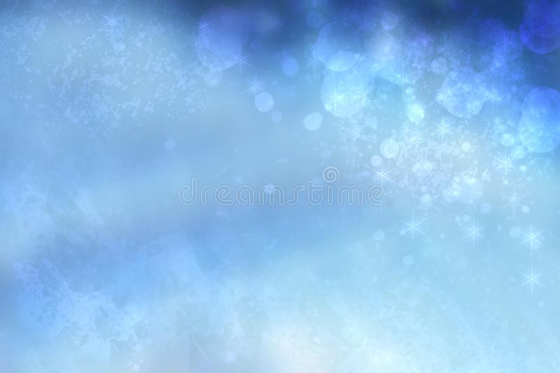 Abstract cloudy blue sky with colorful shining blur bokeh lights background. Beautiful spring summer backdrop texture royalty free stock photography