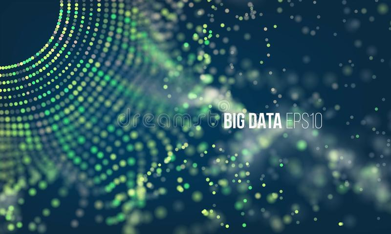 Abstract coding process. Big data futuristic infographic. Colorful particle grid with bokeh vector illustration