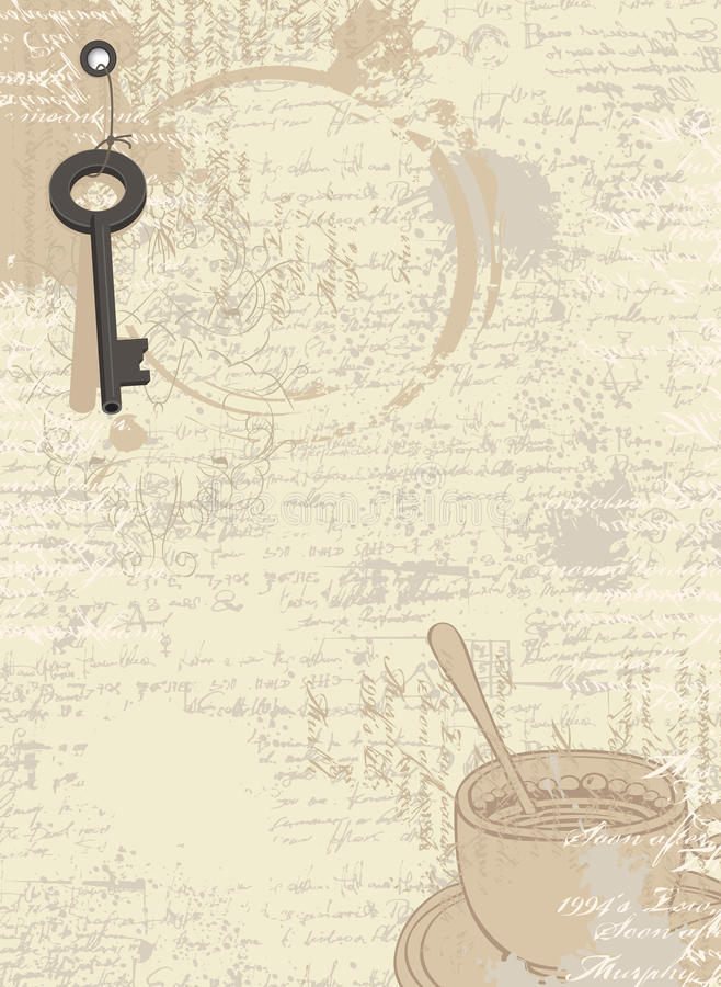 Abstract coffee background with cup and key vector illustration