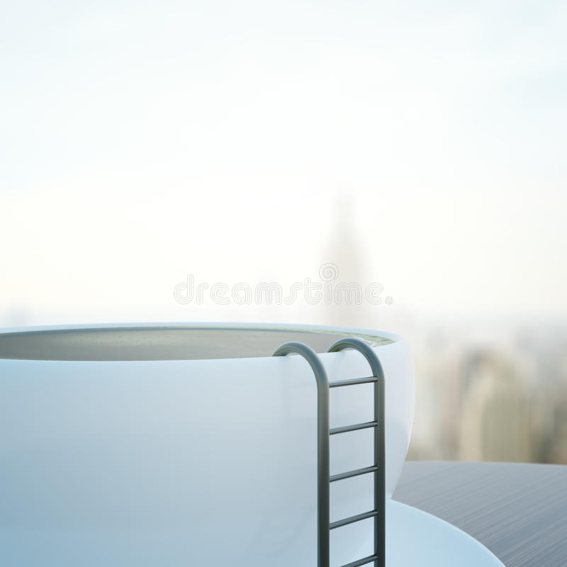 Abstract coffee cup with ladder. Side view of abstract coffee cup with ladder on blurry city background. 3D Rendering vector illustration