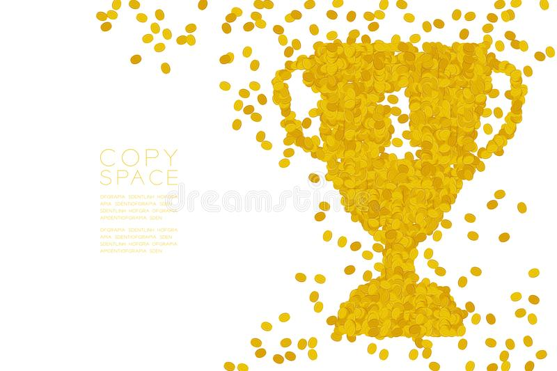 Abstract Coins pattern Number one Trophy Cup shape, Winner of business concept design stock illustration