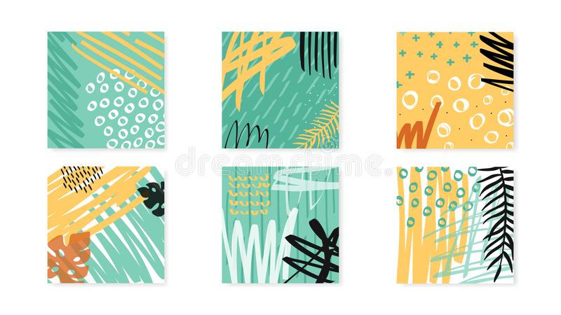 Abstract collage artboards set. Vector background. stock illustration