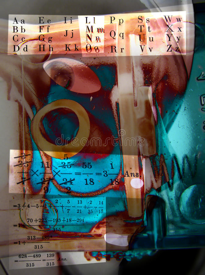Abstract collage of letters and arithmetic. Abstract collage with themes of arithmetic and alphabet royalty free stock image