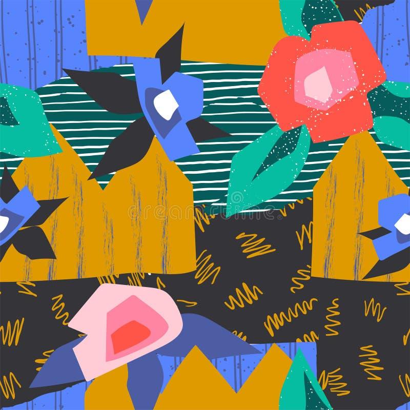 Abstract Collagepatroon Eigentijds kunst naadloos geometrisch ontwerp, decoratieve manier en bloemenaffiche Vector vector illustratie