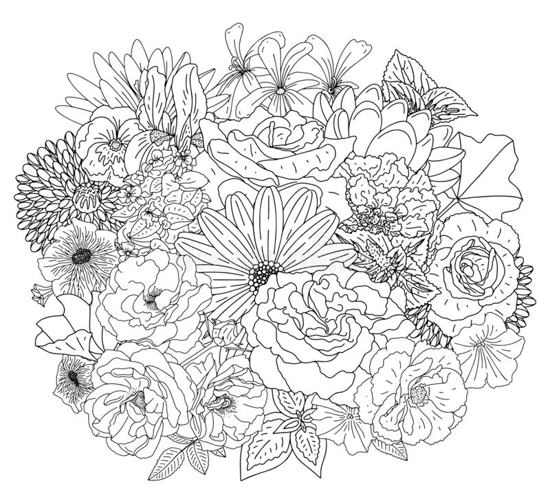 Abstract collection with flowers in doodle style for coloring book and decoration design, wedding, greeting card. Book page. Zentangle. Vector stock image