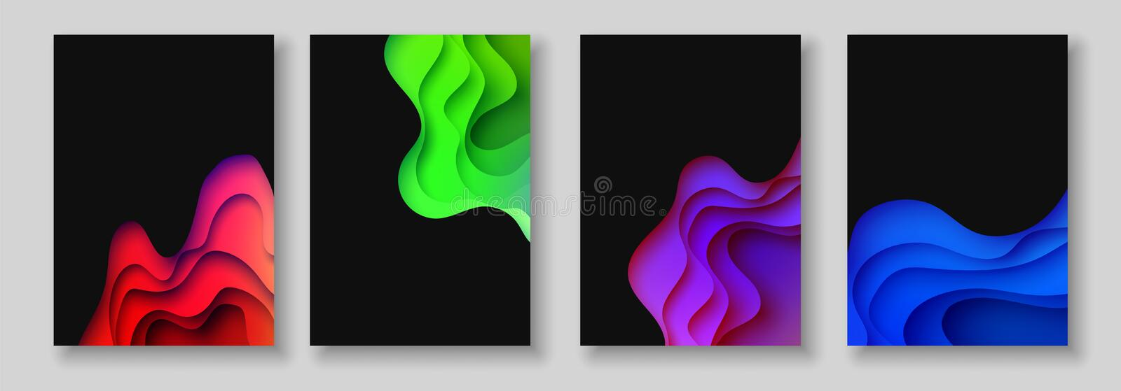 A4 abstract color 3d paper art illustration set. Contrast colors. Vector design layout for banners, presentations, flyer royalty free illustration