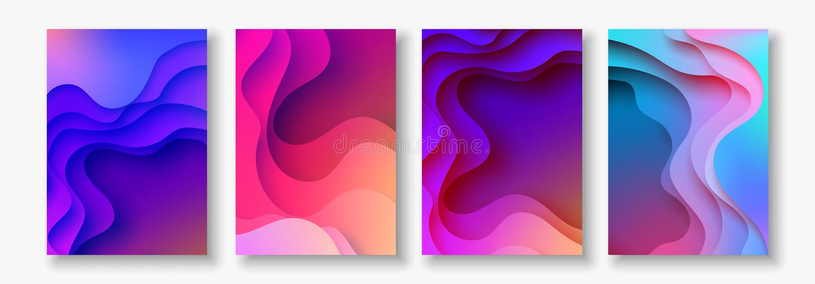 A4 abstract color 3d paper art illustration set. Contrast colors. Vector design layout for banners, presentations, flyer vector illustration