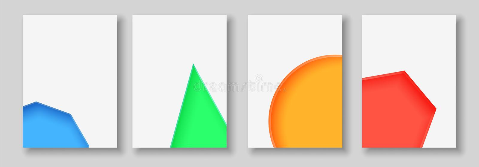 A4 abstract color 3d paper art illustration set. Contrast colors. Vector design layout for banners, presentations, flyer stock illustration