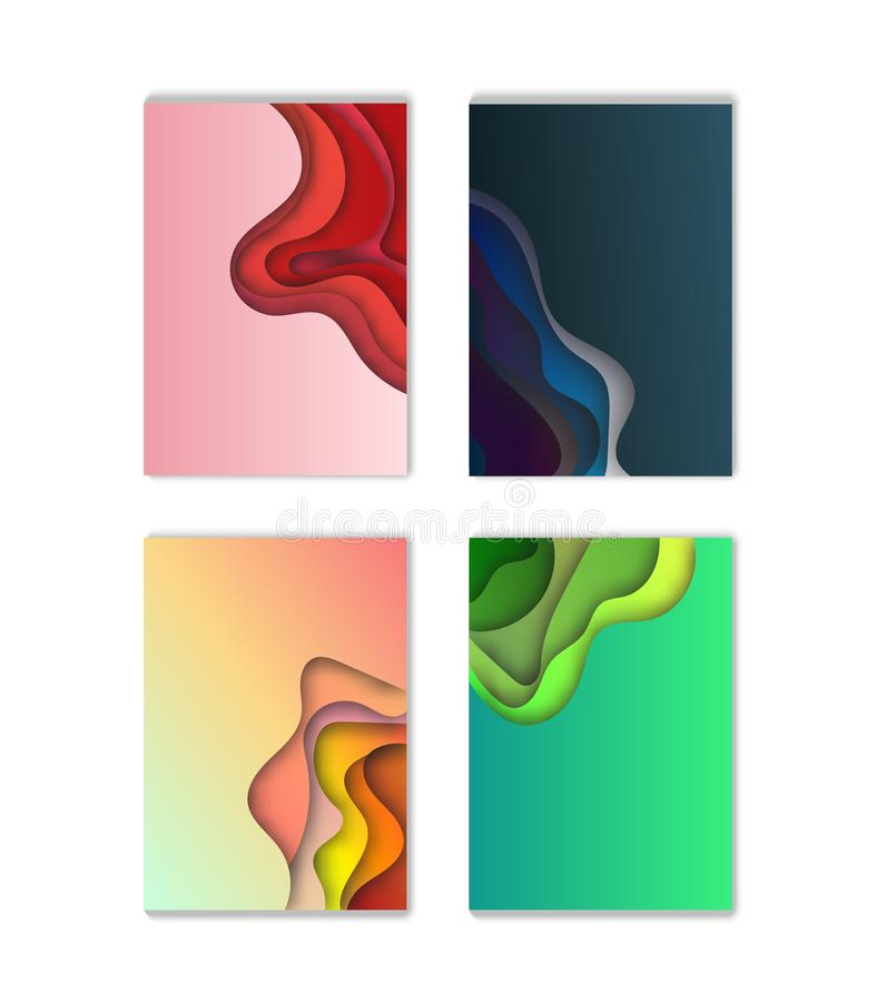 A4 abstract color 3d paper art illustration set. Contrast colors. Vector design layout for banners presentations, flyers, posters vector illustration