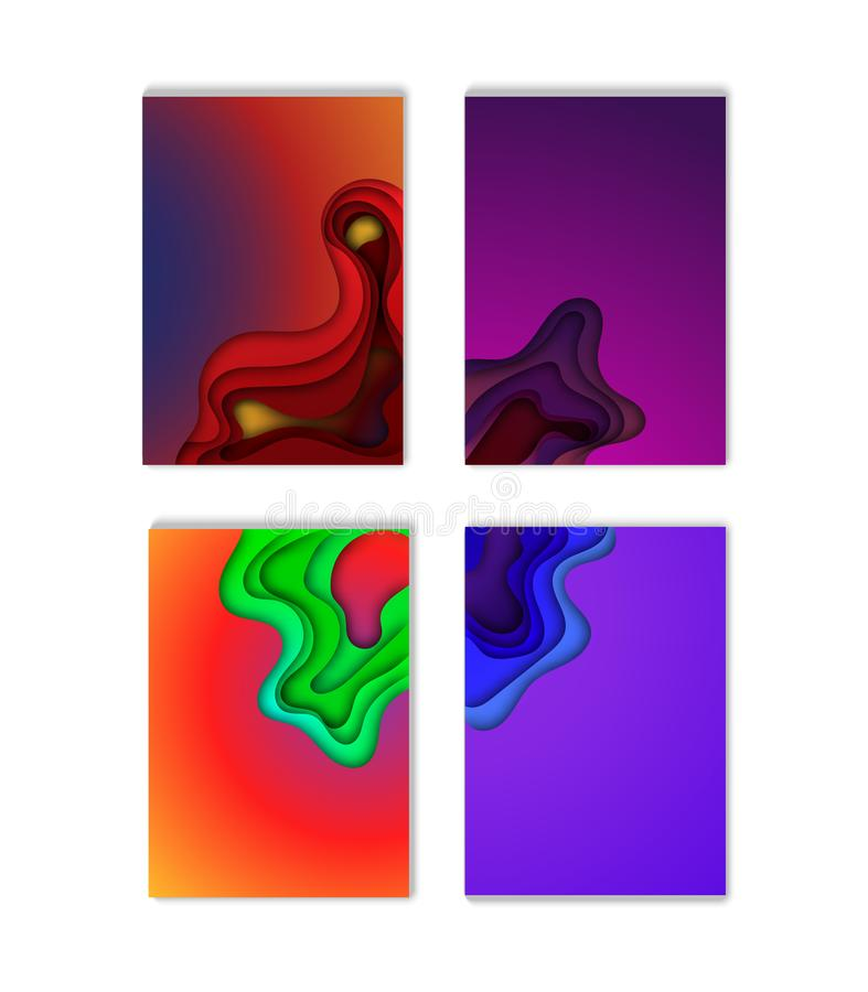 A4 abstract color 3d paper art illustration set. Contrast colors. Vector design layout for banners presentations, flyers, posters stock illustration