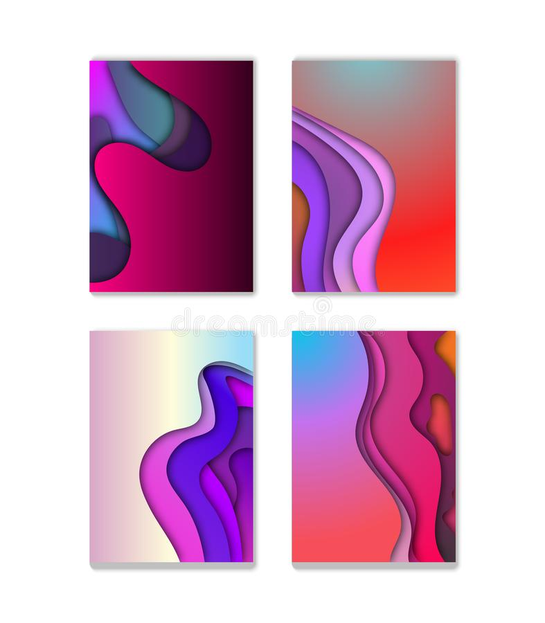 A4 abstract color 3d paper art illustration set. Contrast colors. Vector design layout for banners presentations, flyers, posters royalty free illustration