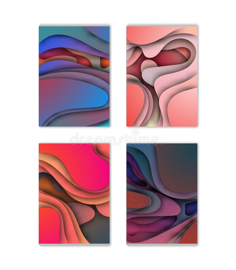 A4 abstract color 3d paper art illustration set. Contrast colors. Vector design layout for banners presentations, flyers, posters. And invitations. Eps10 stock illustration