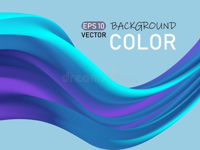 Abstract color flow shape poster design. Blue 3D wave. Eps10 stock illustration
